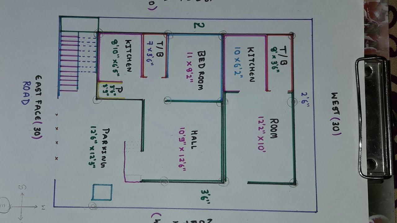 30 × 40 East face house plan map naksha 2 - YouTube