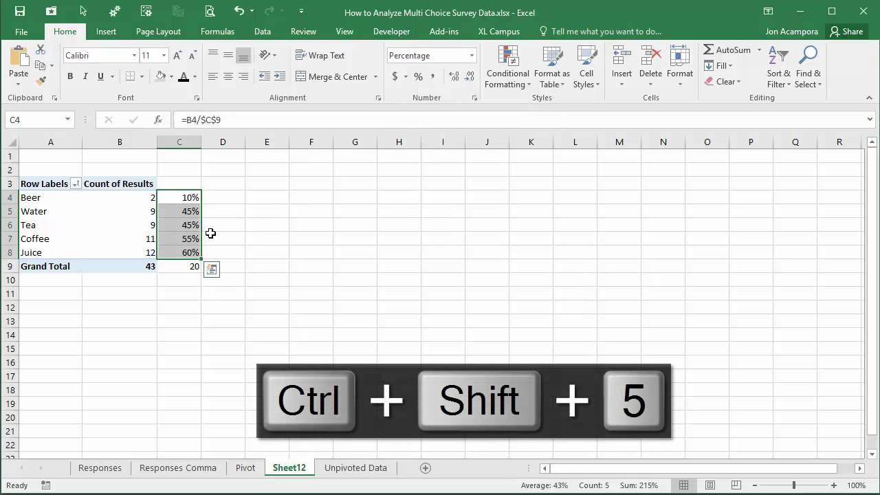 How to Analyze Survey Data Part 3 - Summarize with Pivot Tables and Charts