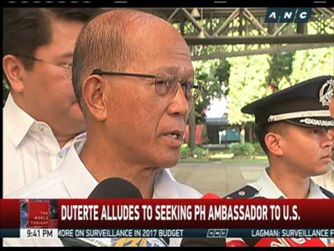 Duterte to name Lorenzana as envoy to US?