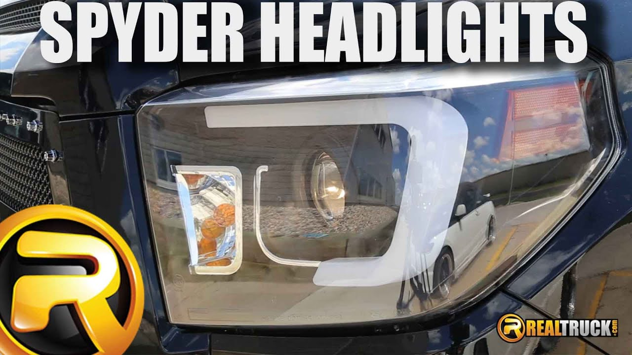 Spyder Black Headlights with Light Bar DRL Fast Facts