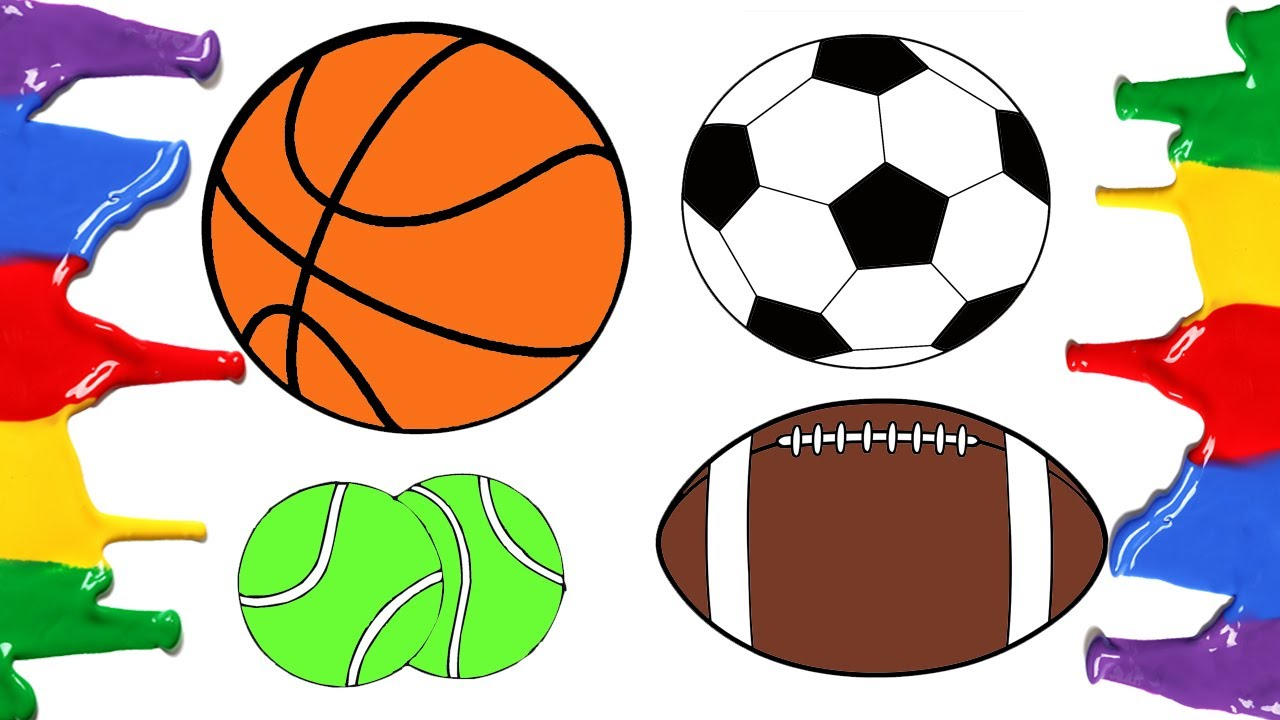How to Draw and Color - Football Basketball American Football Tennis ...