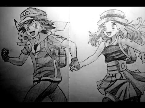 Drawing Ash, Serena and Pikachu