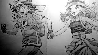 Speed drawing anime - Ash, Serena and Pikachu (Pokemon XY)