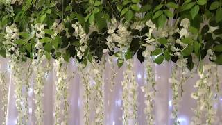 DIY Easy Flower Backdrop with Fairy Lights