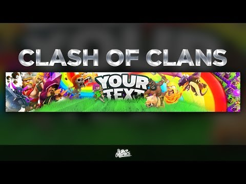 FREE GFX: Free Photoshop Banner Template: 2D Clash of Clans  (CoC) Style Banner Design [2018]