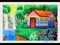 Gradasi Warna Oilpastel Tema Rumah Dgn Pemandangan Air Terjun
