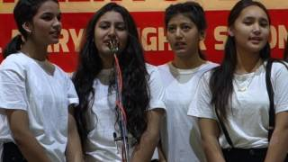 Srijana Thapa and the friends of Class 11 (S), St  Mary