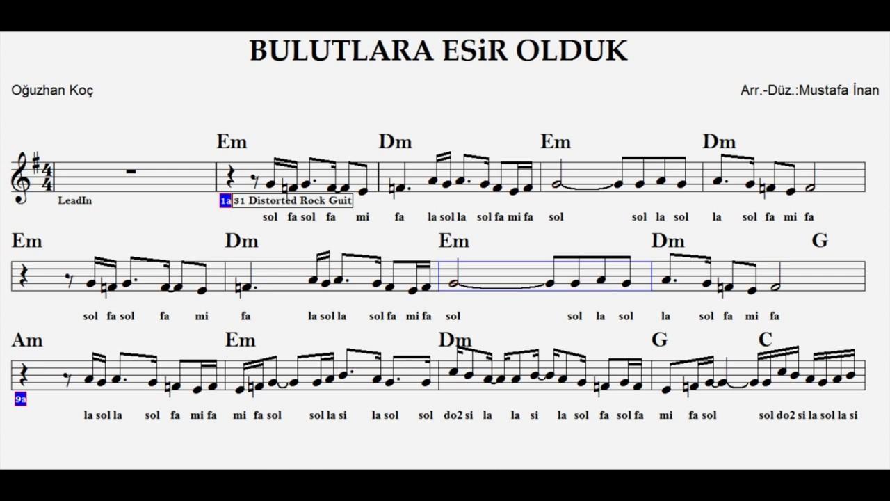 Bulutlara Esir Olduk Em Play Along Guitar Flute Violin Keyboard Melodica Youtube