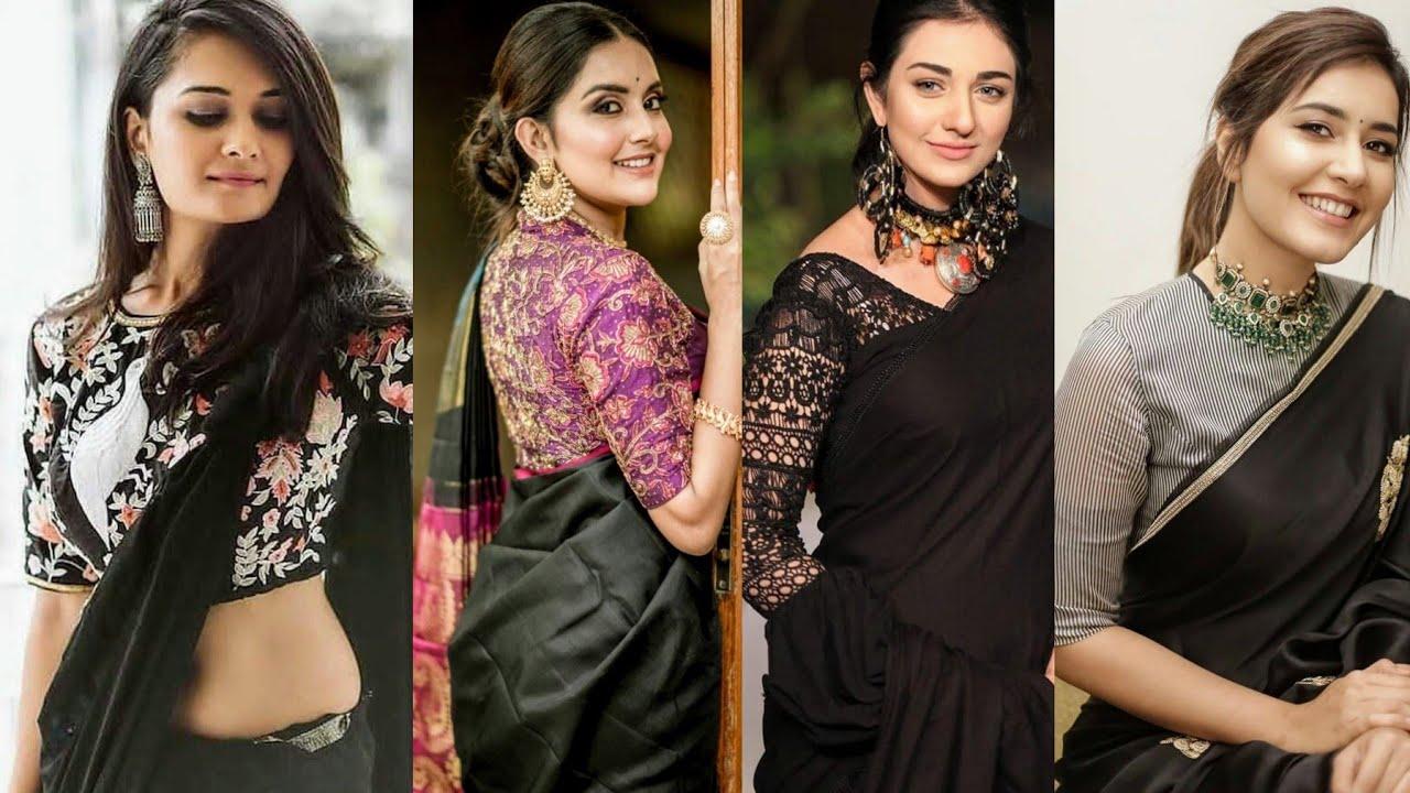 New Model Blouse Designs For Black Sarees Black Saree Blouse