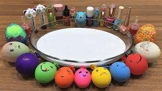 Mixing Makeup and Floam into Glossy Slime !!! Slimesmoothie Relaxing Slime with Funny Balloons