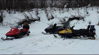 В оттепель на трёх снегоходах (Тайга Барс 850, Варяг 550V, Scandic 550F)