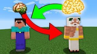 Swapped BRAINS Noob and God - Minecraft battle challenge Noob vs Pro vs Hacker vs God