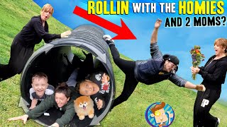 ROLLING My Mom Down a Hill in a DRAINAGE PIPE! (FV Family Culvert DIY SLIDES Vlog)