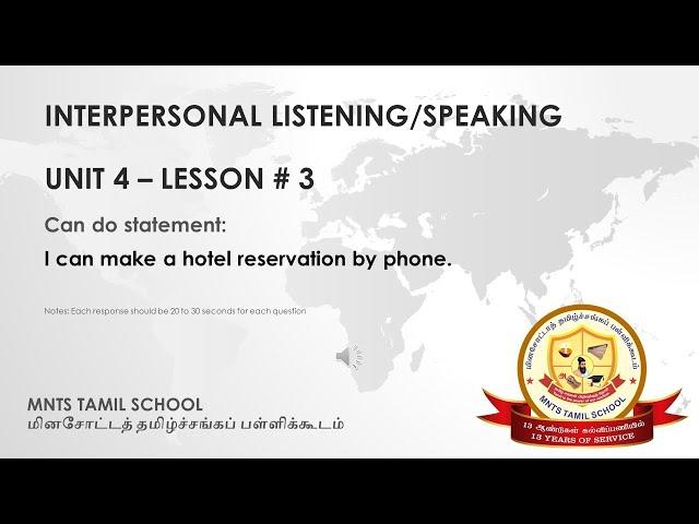 UNIT 4 Lesson 3 Interpersonal Listening-Speaking