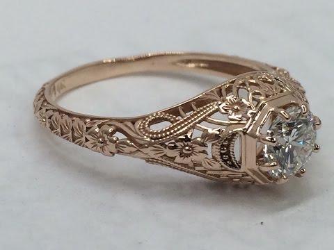 Rose Gold Vintage Inspired Diamond Ring