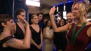 Golden Globes 2013: Lena Dunham, 'Girls' Cast, Adele, Julianne Moore Interviews Backstage