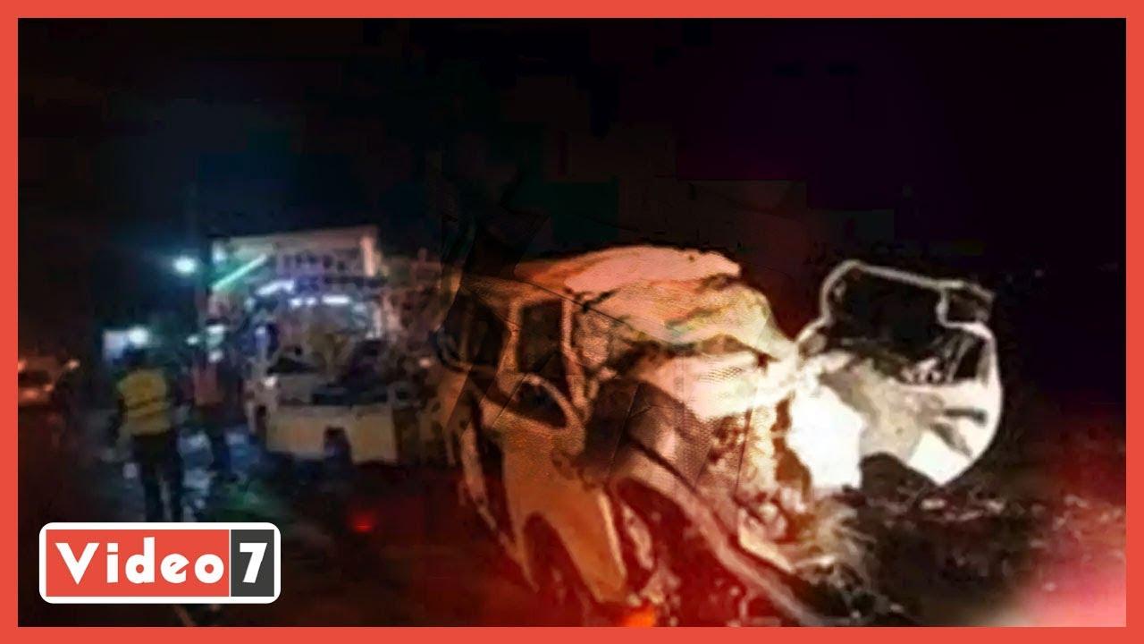 صورة فيديو : تفاصيل مصرع 18 شخصا وإصابة 5 آخرين بحادث تصادم على الصحراوى الشرقى