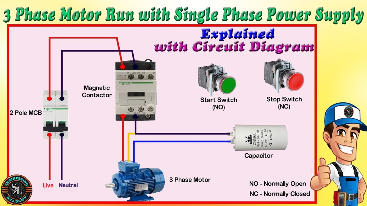 How to Connect 3 Phase Motor to Single Phase Power Supply / 3 Phase Motor  Run with Single Phase Line - YouTubeYouTube
