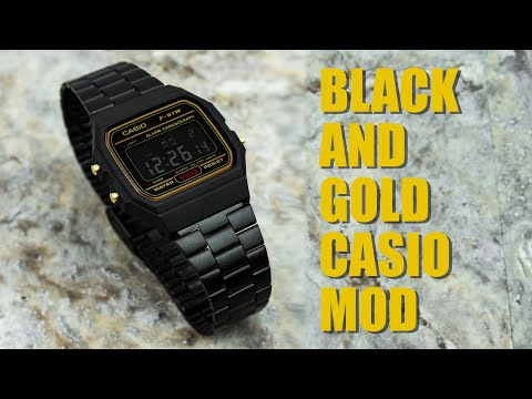 Black & Gold Casio F91W Inverted LCD And Strap Mod