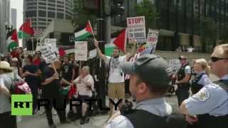 USA: Pro-Israel and pro-Palestine protesters face off in Chicago