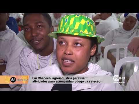 Em Chapecó, agroindústria reúne funcionários para assistir ao Brasil no Mundial da Rússia