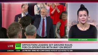 Opposition leaders set ground rules for co-operation with May on Brexit