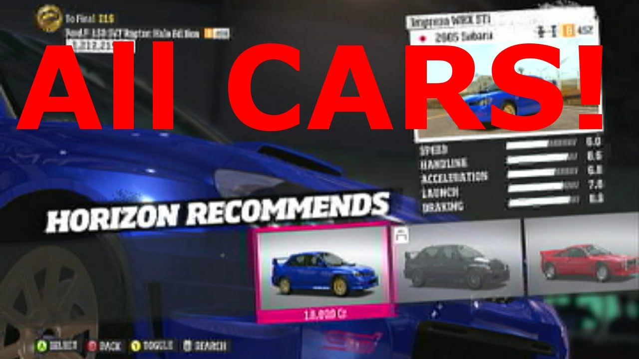 List Of All The Cars In Forza Horizon