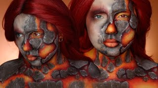 Fire Elemental Makeup & Body Paint Tutorial