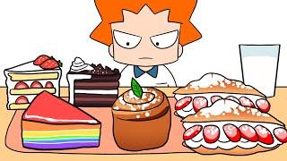 초코케이크, 딸기 샌드위치 먹방ASMR|CHOOCO CAKE &STRAWBERRY SANDWICH& RAINBOW CAKE DESSERT MUKBANG ASMR [KN'T🐈]