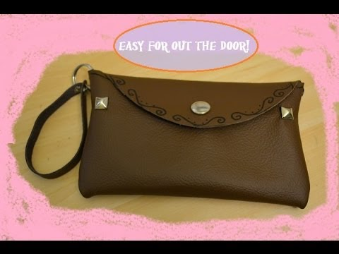 DIY leather clutch bag - YouTube