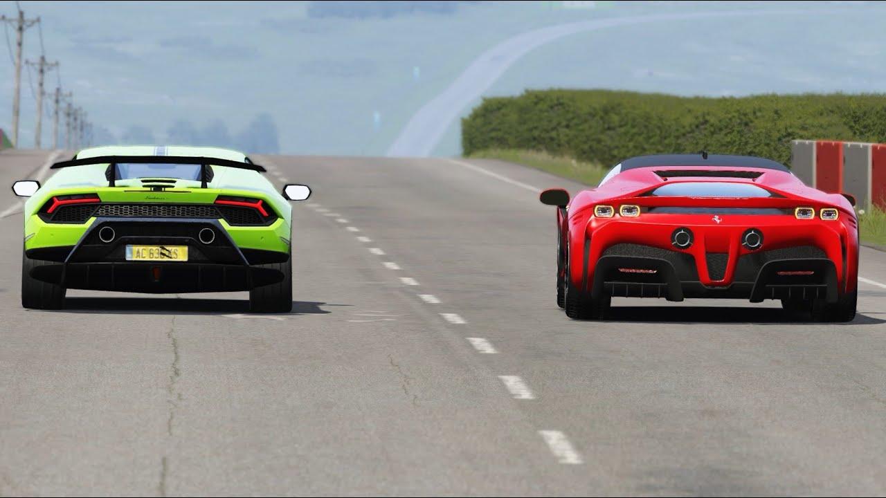 Lamborghini Veneno vs Dodge Challenger SRT Hellcat vs Bugatti Divo at Old Spa