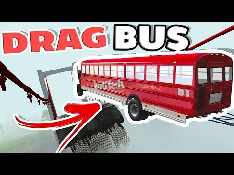 24000 HP DRAG BUS VS CRASH HARD 2 BRIDGE JUMP! - BeamNG Drive School Bus Mod