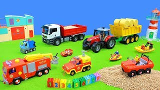 Tractor, Lego Duplo, Bruder Vehicles & Fireman Sam Cars Unboxing | Color and Number Toys for Kids