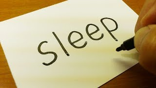 Very Easy ! How to turn words SLEEP into a Cartoon for kids -  Drawing doodle art on paper