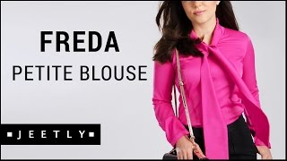 Petite pussybow blouse - Freda pink blouse by Jeetly
