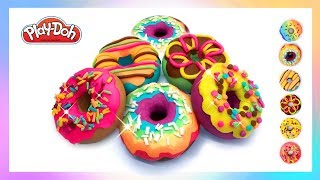 Play Doh Rainbow Donuts. How to Make DIY Crafts for Kids