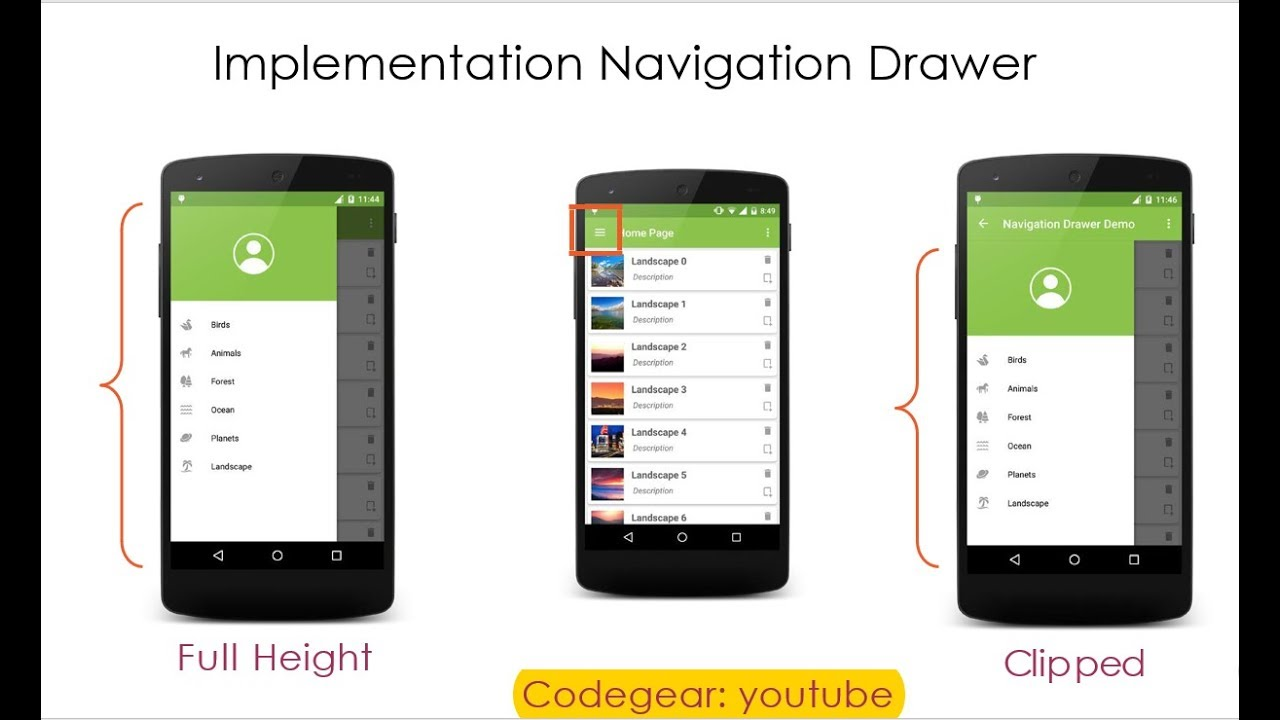 How to implement Navigation Drawer in android || full tutorial with note  and ppt
