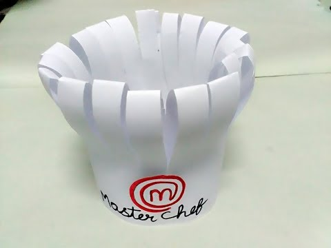 How to make master chef cap diy cooking cap from paper for Paper chef hat craft