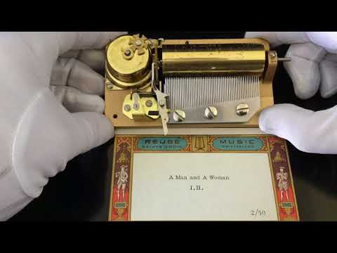 "Reuge 2 song 50 note musical movement for music box, plays ""A Man and a Woman"" in 2 parts"