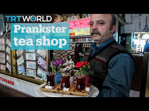 This Turkish tea shop owner is a prankster