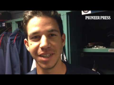 Video: Tommy Milone really had to focus on this answer as Casey Fien ate an ice cream cone behind th