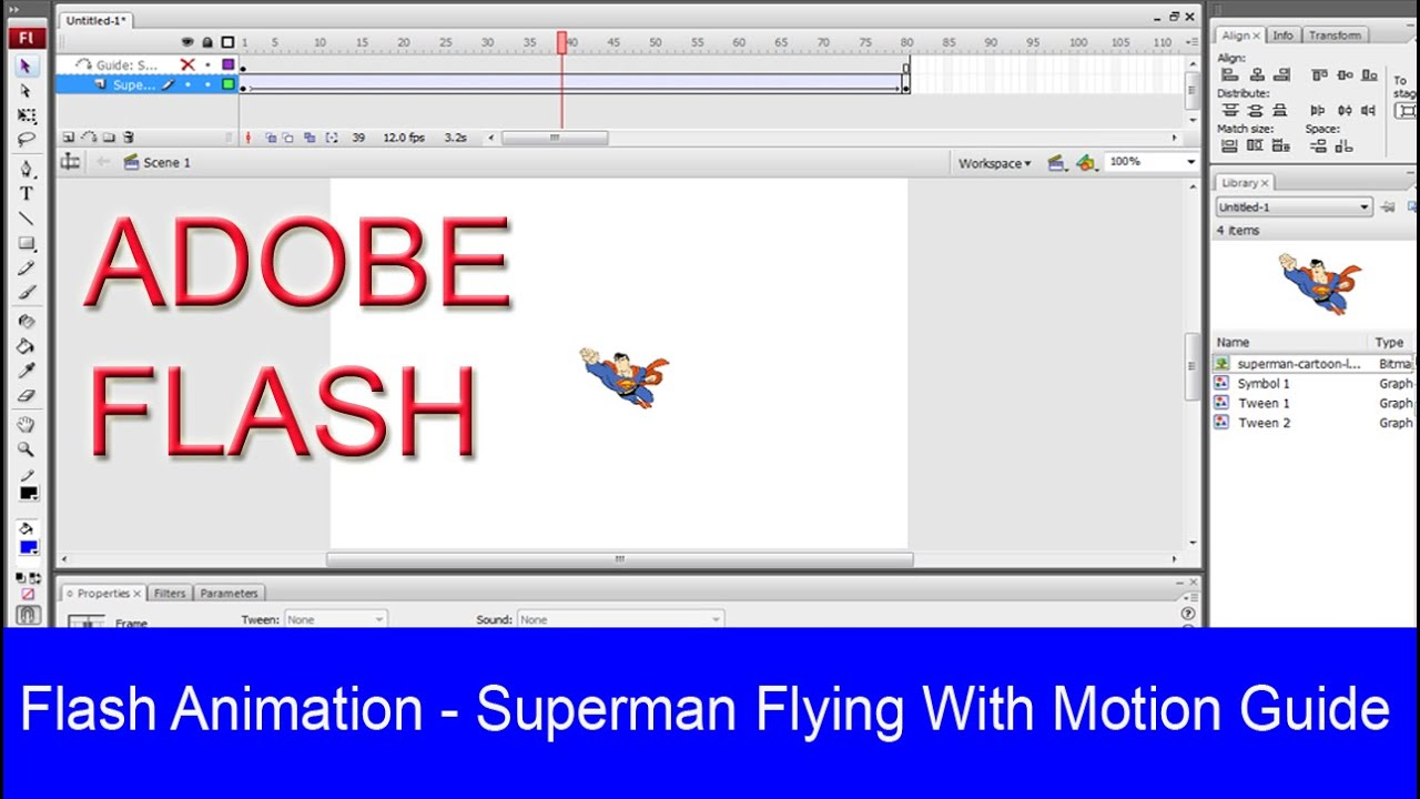 animation superman flying with motion guide in adobe flash rh youtube com Adobe Flash Professional 2019 Logo Adobe Flash Professional CS6