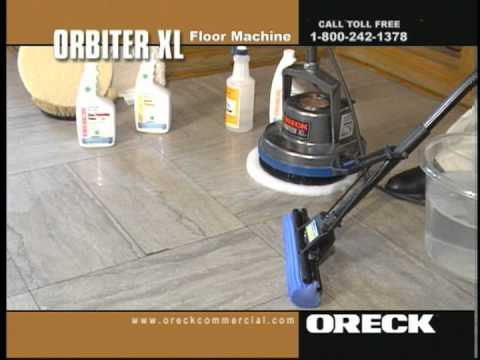 Oreck commercial orbiter floor machine concrete cleaning for Cement cleaning solution
