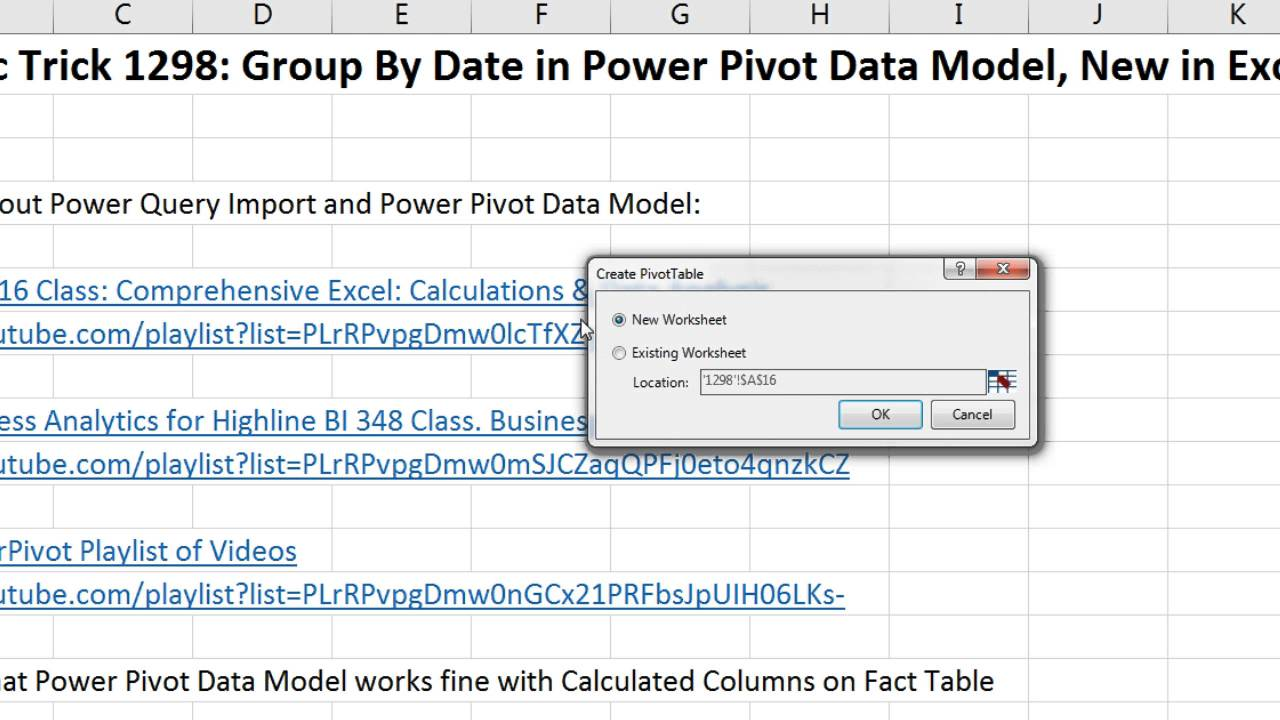 Excel Magic Trick 1298: Group By Date in Power Pivot Data Model, New in  Excel 2016