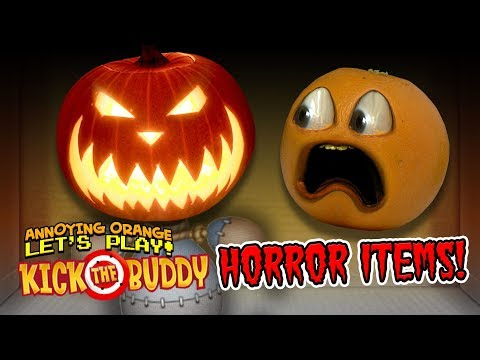 Kick The Buddy: HORROR ITEMS! [Annoying Orange Plays]