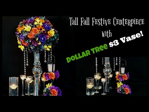 Tall Fall Centerpiece with $3 Vase | Dollar Tree $3 Vase! | DIY Tutorial