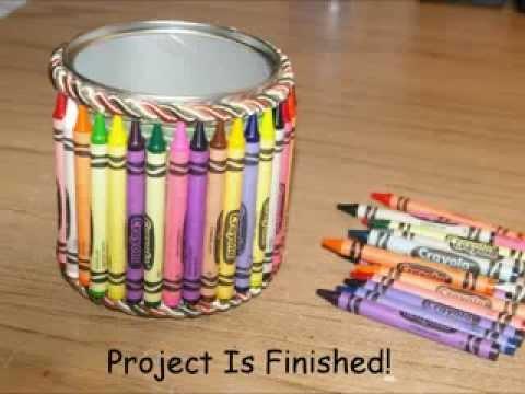 diy crayon covered pen holder youtube. Black Bedroom Furniture Sets. Home Design Ideas