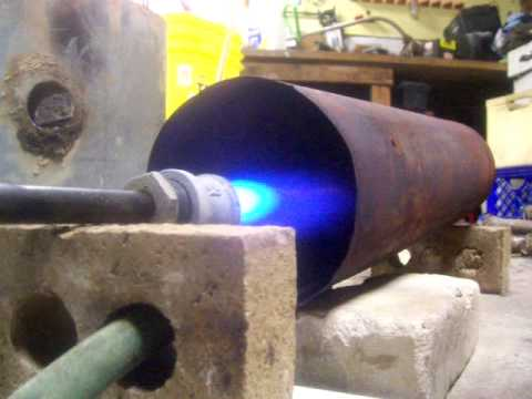 Foundry furnace burner as garage heater  YouTube