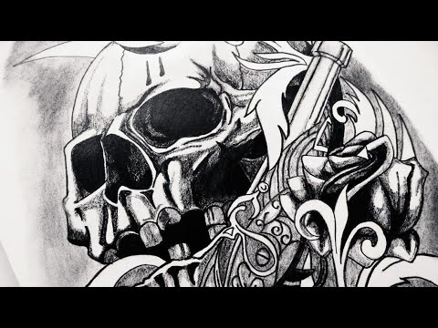 How to Draw Realistic Skull, Guns & Roses Tattoo Design ...