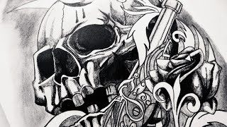 How to Draw Realistic Skull, Guns & Roses Tattoo Design